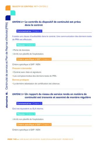 Guide d'évaluation d'un système SAP pour l'audit interne / AFAI, IFACI, USF page 141