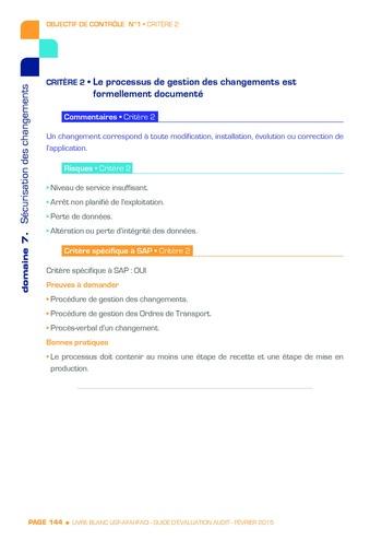 Guide d'évaluation d'un système SAP pour l'audit interne / AFAI, IFACI, USF page 145