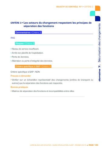 Guide d'évaluation d'un système SAP pour l'audit interne / AFAI, IFACI, USF page 146