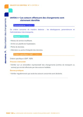 Guide d'évaluation d'un système SAP pour l'audit interne / AFAI, IFACI, USF page 147