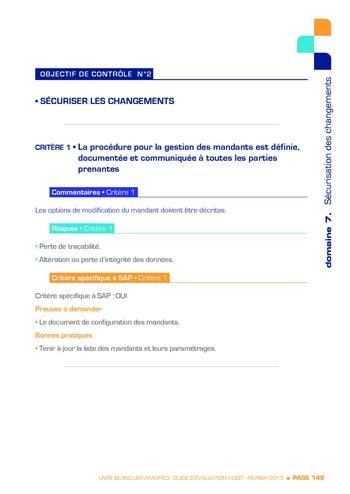 Guide d'évaluation d'un système SAP pour l'audit interne / AFAI, IFACI, USF page 150