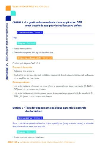 Guide d'évaluation d'un système SAP pour l'audit interne / AFAI, IFACI, USF page 151