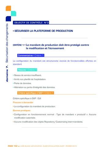 Guide d'évaluation d'un système SAP pour l'audit interne / AFAI, IFACI, USF page 153