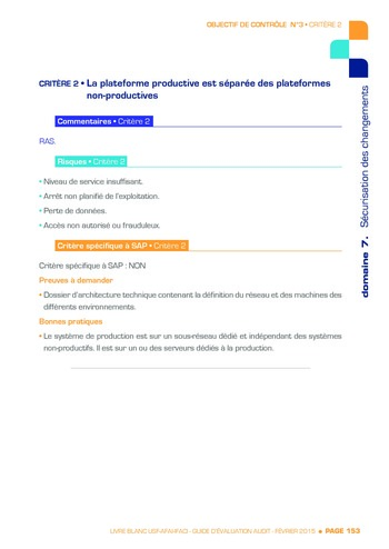 Guide d'évaluation d'un système SAP pour l'audit interne / AFAI, IFACI, USF page 154