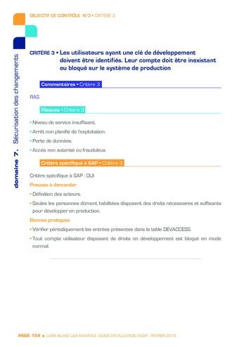 Guide d'évaluation d'un système SAP pour l'audit interne / AFAI, IFACI, USF page 155