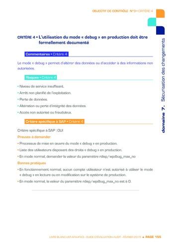 Guide d'évaluation d'un système SAP pour l'audit interne / AFAI, IFACI, USF page 156