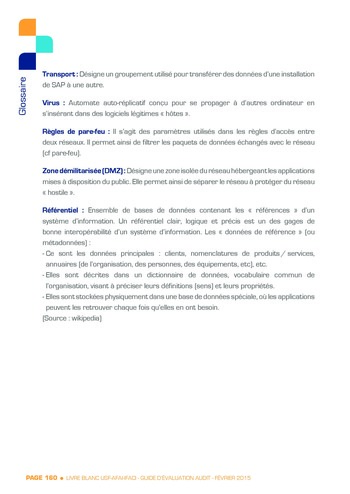 Guide d'évaluation d'un système SAP pour l'audit interne / AFAI, IFACI, USF page 161