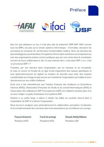 Guide d'évaluation d'un système SAP pour l'audit interne / AFAI, IFACI, USF page 2