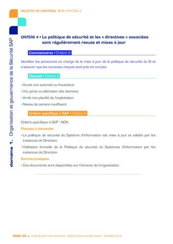 Guide d'évaluation d'un système SAP pour l'audit interne / AFAI, IFACI, USF page 29