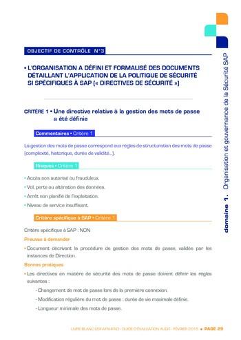 Guide d'évaluation d'un système SAP pour l'audit interne / AFAI, IFACI, USF page 30