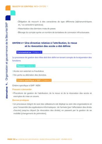 Guide d'évaluation d'un système SAP pour l'audit interne / AFAI, IFACI, USF page 31
