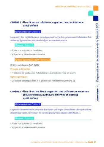 Guide d'évaluation d'un système SAP pour l'audit interne / AFAI, IFACI, USF page 32