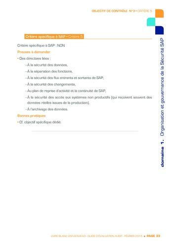Guide d'évaluation d'un système SAP pour l'audit interne / AFAI, IFACI, USF page 34