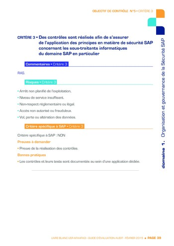 Guide d'évaluation d'un système SAP pour l'audit interne / AFAI, IFACI, USF page 40
