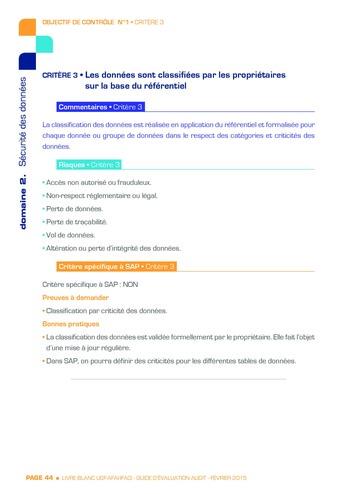 Guide d'évaluation d'un système SAP pour l'audit interne / AFAI, IFACI, USF page 45