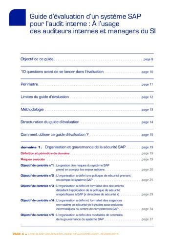 Guide d'évaluation d'un système SAP pour l'audit interne / AFAI, IFACI, USF page 5