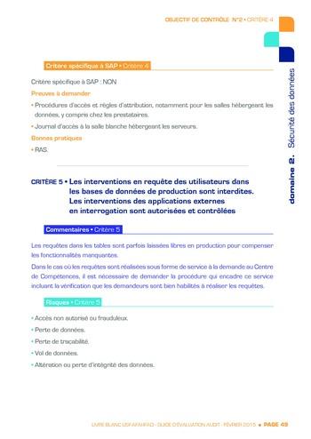 Guide d'évaluation d'un système SAP pour l'audit interne / AFAI, IFACI, USF page 50