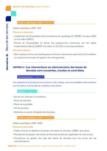 Guide d'évaluation d'un système SAP pour l'audit interne / AFAI, IFACI, USF page 51