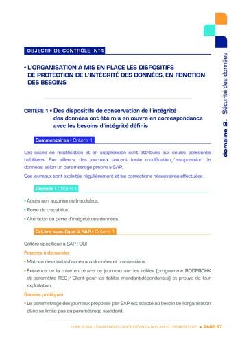 Guide d'évaluation d'un système SAP pour l'audit interne / AFAI, IFACI, USF page 58