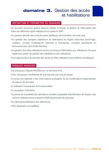 Guide d'évaluation d'un système SAP pour l'audit interne / AFAI, IFACI, USF page 64
