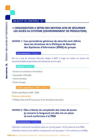 Guide d'évaluation d'un système SAP pour l'audit interne / AFAI, IFACI, USF page 65