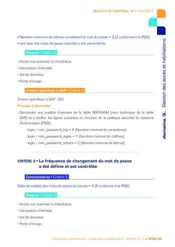 Guide d'évaluation d'un système SAP pour l'audit interne / AFAI, IFACI, USF page 66
