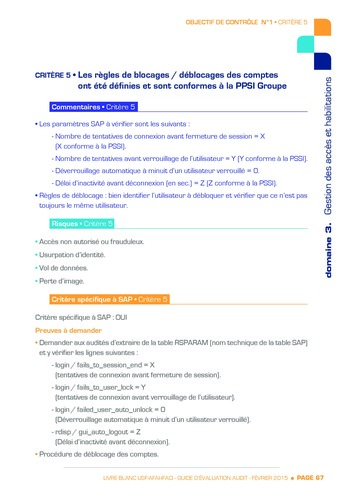 Guide d'évaluation d'un système SAP pour l'audit interne / AFAI, IFACI, USF page 68