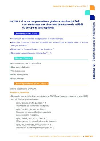 Guide d'évaluation d'un système SAP pour l'audit interne / AFAI, IFACI, USF page 70