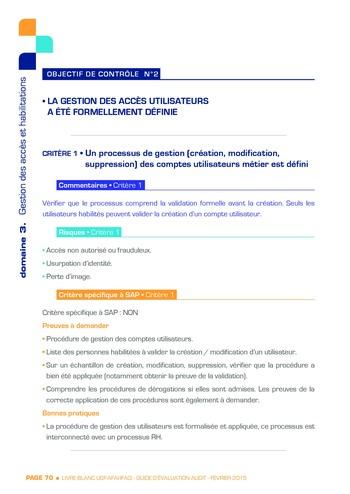Guide d'évaluation d'un système SAP pour l'audit interne / AFAI, IFACI, USF page 71