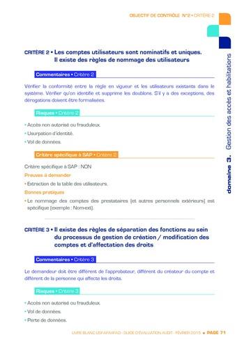 Guide d'évaluation d'un système SAP pour l'audit interne / AFAI, IFACI, USF page 72