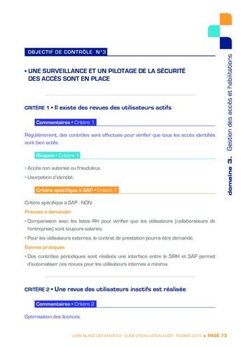 Guide d'évaluation d'un système SAP pour l'audit interne / AFAI, IFACI, USF page 74