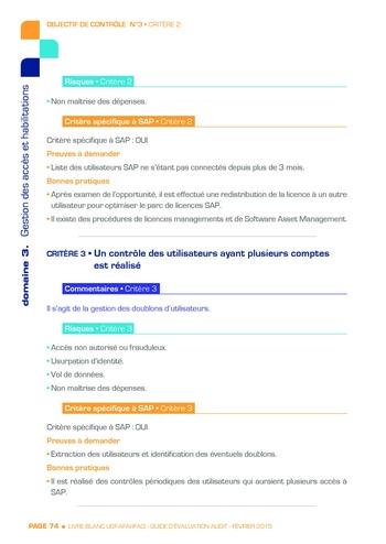 Guide d'évaluation d'un système SAP pour l'audit interne / AFAI, IFACI, USF page 75