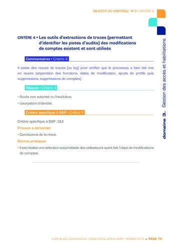 Guide d'évaluation d'un système SAP pour l'audit interne / AFAI, IFACI, USF page 76