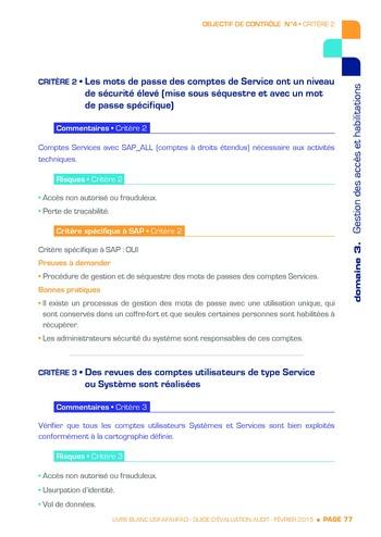 Guide d'évaluation d'un système SAP pour l'audit interne / AFAI, IFACI, USF page 78