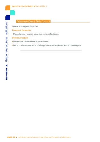 Guide d'évaluation d'un système SAP pour l'audit interne / AFAI, IFACI, USF page 79