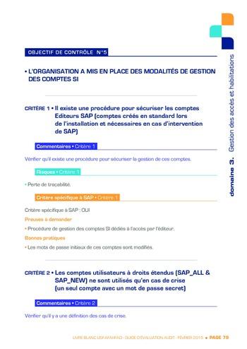 Guide d'évaluation d'un système SAP pour l'audit interne / AFAI, IFACI, USF page 80