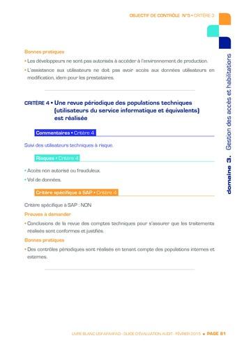 Guide d'évaluation d'un système SAP pour l'audit interne / AFAI, IFACI, USF page 82