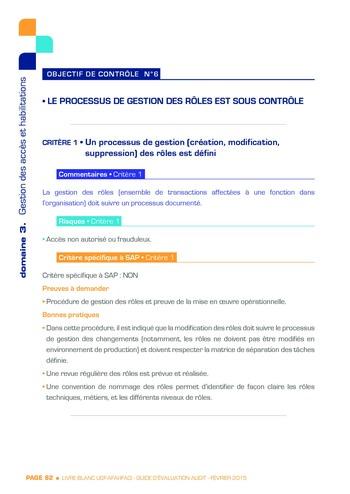 Guide d'évaluation d'un système SAP pour l'audit interne / AFAI, IFACI, USF page 83