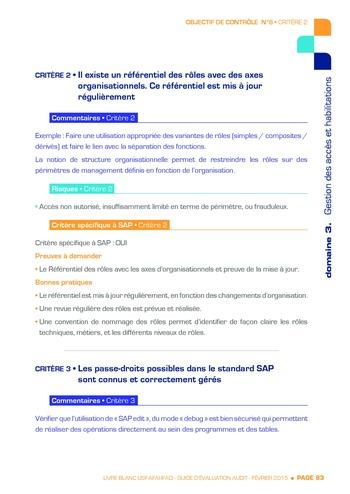 Guide d'évaluation d'un système SAP pour l'audit interne / AFAI, IFACI, USF page 84