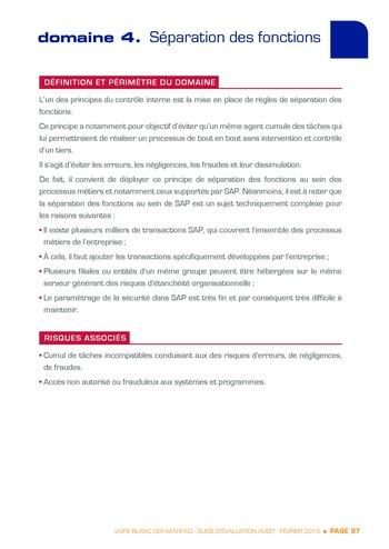 Guide d'évaluation d'un système SAP pour l'audit interne / AFAI, IFACI, USF page 88