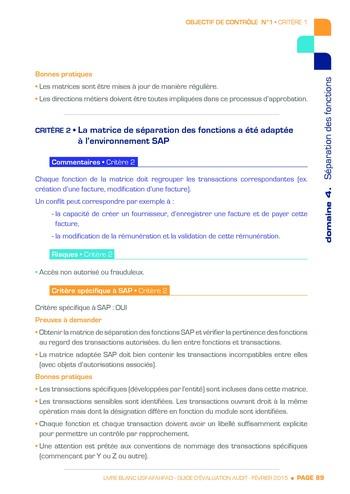 Guide d'évaluation d'un système SAP pour l'audit interne / AFAI, IFACI, USF page 90