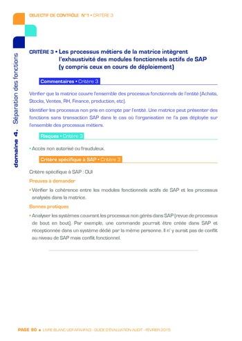 Guide d'évaluation d'un système SAP pour l'audit interne / AFAI, IFACI, USF page 91
