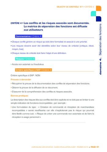 Guide d'évaluation d'un système SAP pour l'audit interne / AFAI, IFACI, USF page 92