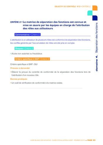 Guide d'évaluation d'un système SAP pour l'audit interne / AFAI, IFACI, USF page 94