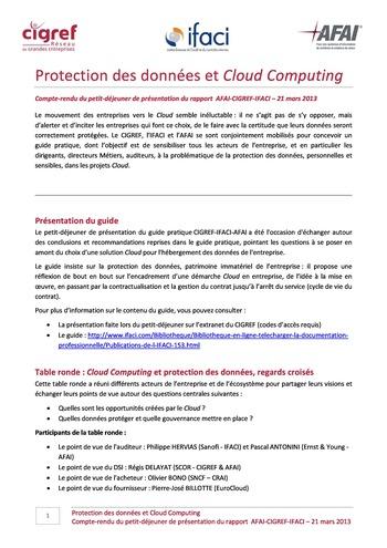 Protection des données et cloud Computing - Petit déjeuner / AFAI, IFACI, CIGREF page 1
