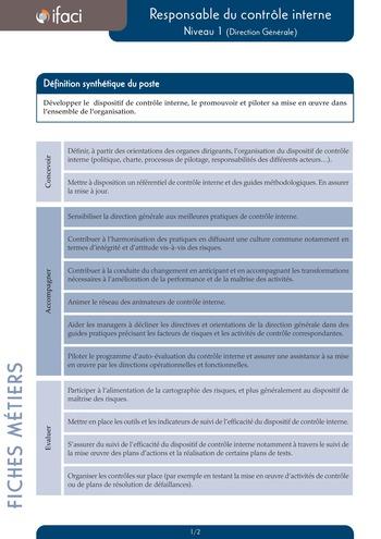 Fiche métier - Responsable du contrôle interne page 1
