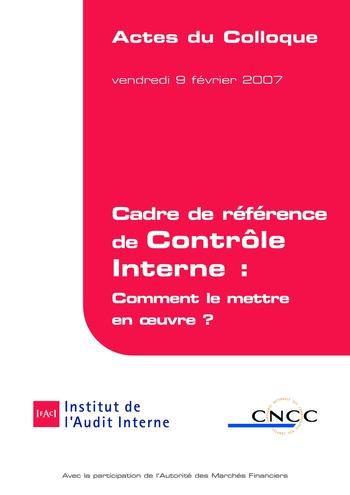 Cadre de référence de contrôle interne - Actes page 1