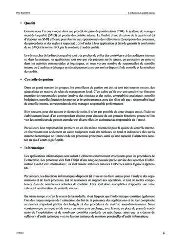 Prise de position - Urbanisme du contrôle interne page 10