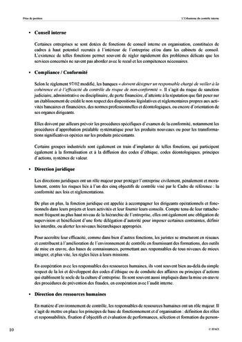 Prise de position - Urbanisme du contrôle interne page 11