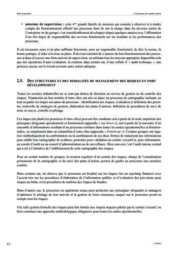 Prise de position - Urbanisme du contrôle interne page 13